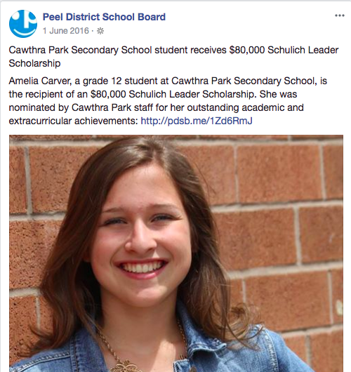 Peel District School Board, FB Post 1