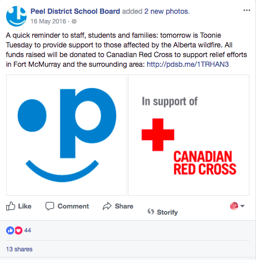 Peel District School Board, FB Post 3