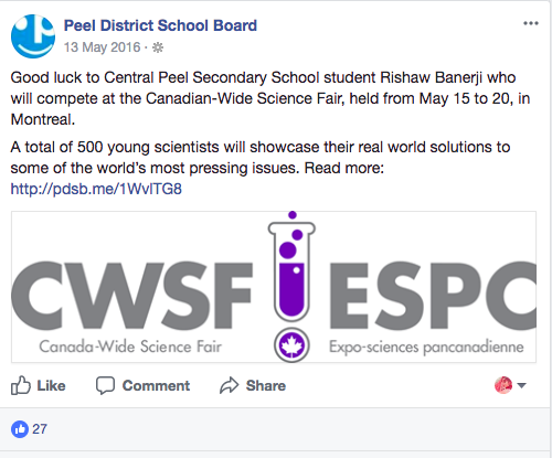 Peel District School Board, FB Post 5